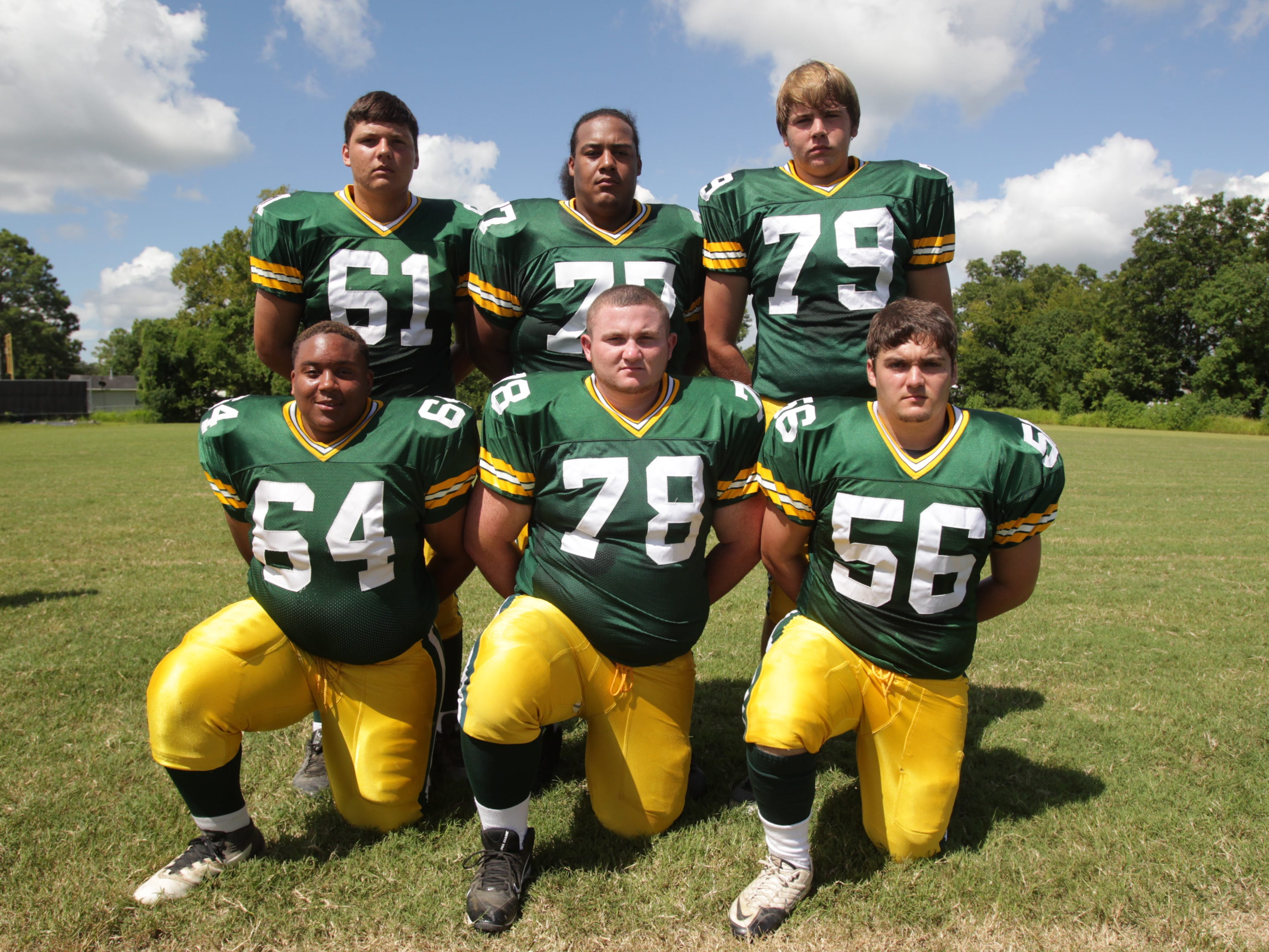 Cecilia's beef in the trenches this season will include: Brylan Ray (61),Tyler Senegal (77), Trenton Guidry (79), Dreylan Duffy (64), Trent Bergeron (78) and Bailey Marks (56).