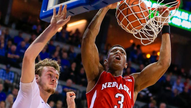 Nebraska guard Andrew White III (3) dunks against Creighton on Dec. 9, 2015.