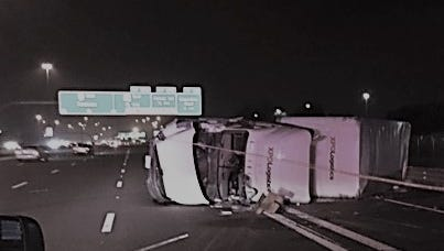 Semi rollover on I-10 in Chandler.