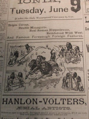 This week's photo is from an ad in the Daily Sentinel for the Forepaugh Shows that performed in Ionia on June 9, 1891.