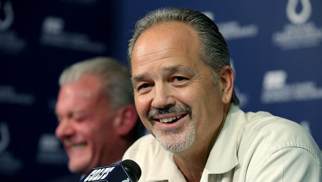 Indianapolis Colts owner Jim Irsay (left)  announced Jan. 4, 2016, that head coach Chuck Pagano will return as he signs a contract extension with the team.