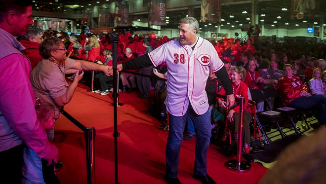 Cincinnati Reds manager Bryan Price greets fans at RedsFest at the Duke Energy Convention Center in downtown Cincinnati Friday, December 1, 2017.