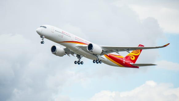 Hong Kong Airlines' first Airbus A350 makes its maiden