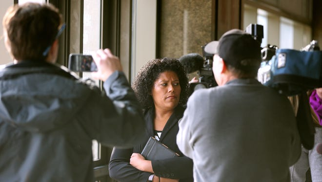 Judge Leticia Astacio is surrounded by media as she leaves City Court after another appearance for violating her post-conviction conditions. She is scheduled back in court on March 3rd.