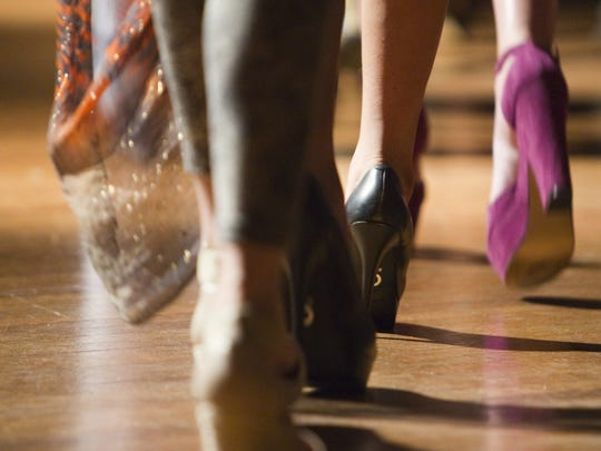 Shoes during the showing of Lorry Plasterer at an event called The New School of Fashion, as part of Midwest Fashion Week, at Madame Walker Theater, Indianapolis, IN, Tuesday, March 13, 2012.