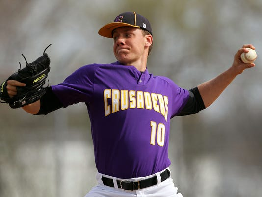 Lancaster Catholic starting pitcher Dillon Marsh (10) on the mound against Donegal during 1st inning action at Stauffer Park in Lancaster Wednesday April 15, 2015. Chris Knight - GametimePa.com