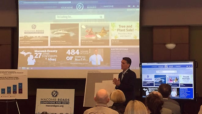 Macomb County Executive Mark Hackel blasts lawmakers over road funding today after he unveiled a new mapping tool showing where bad roads are in the county.