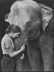 Keeper Nancy Harger with Bingo before operation, Aug.