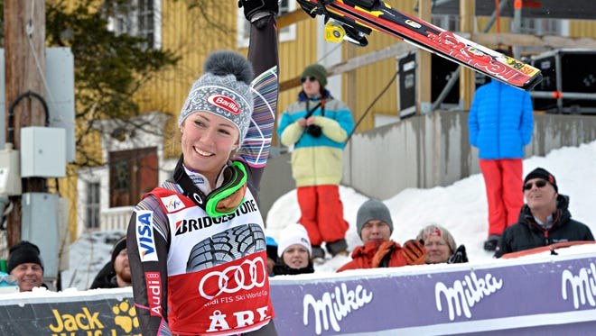 Mikaela Shiffrin of the USA takes 1st place during the Audi FIS Alpine Ski World Cup Women's Slalom on Saturday in Are, Sweden.
