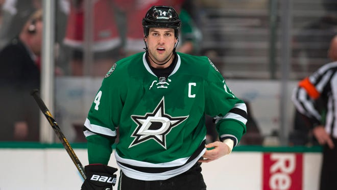 Feb 29, 2016; Dallas, TX, USA; Dallas Stars left wing Jamie Benn (14) skates off the ice during the third period against the Detroit Red Wings at American Airlines Center. The Red Wings defeated the Stars 3-2 in overtime.