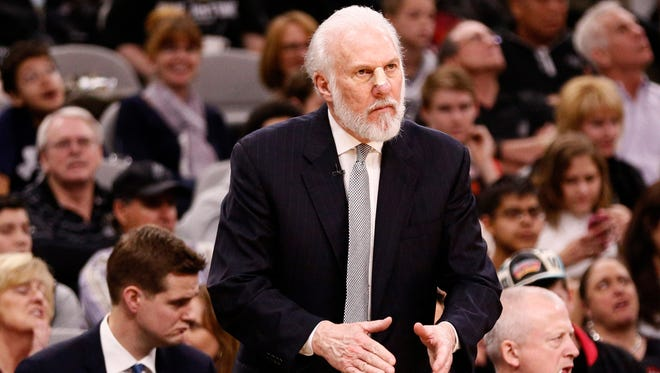 San Antonio Spurs head coach Gregg Popovich reacts during the second half against the Golden State Warriors.