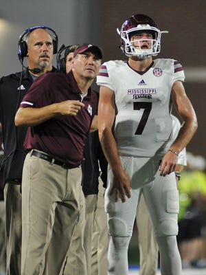 Once upon a time, then-Mississippi State head coach Dan Mullen and starting Bulldogs' quarterback Nick Fitzgerald (7) were a formidable duo. They'll be on opposite sidelines Saturday night when first-year Florida coach Mullen brings his Gators to Starkville to face the Fitzgerald-led Bulldogs. Photo by Justin Ford-USA TODAY Sports
