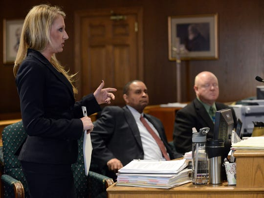 Fairfield County Assistant Prosecutor Andrea Green argues against a defense motion to dismiss the charges against David Pyles Thursday in Fairfield County Common Pleas Court in Lancaster. Pyles is on trial with raping a 12 year-old girl.