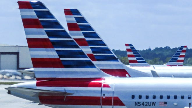American Airlines passenger planes on April 10, 2016, at the Charlotte Douglas International Airport in Charlotte, North Carolina, USA.