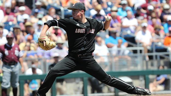 U of L's Brendan McKay (38) delivers a pitch against Texas A&M during Game 3 of the College World Series in Omaha, Neb.  U of L won 8-4.