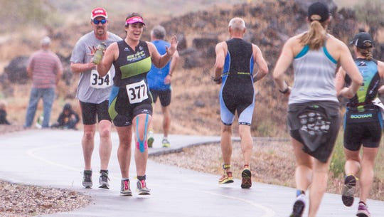 Athletes compete in the SHAC Triathlon Saturday, April