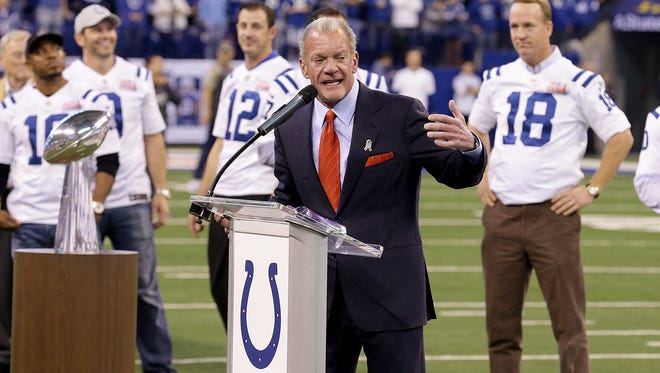 Colts owner Jim Irsay honored the Super Bowl XLI champs at Lucas Oil Stadium last season.