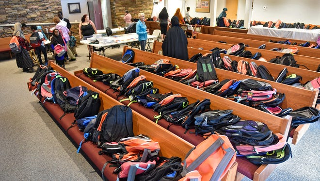 More than 1,800 backpacks and school supplies were available for young students Friday, Aug. 25, at Salvation Army headquarters in St. Cloud.