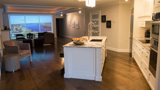 A mockup of the kitchen and the main room in one of the two bedroom-two bathroom units in the Bluewater View Condominiums. Each unit will have floor-to-ceiling windows in the living room.