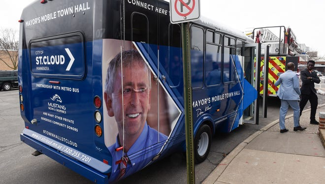 A new bus that St. Cloud Mayor Dave Kleis will use for mobile town halls was unveiled during his State of the City address Tuesday, April 10, at St. Cloud City Hall.