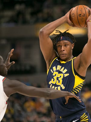 Myles Turner of Indiana, works a possession during the first half of Milwaukee Bucks at Indiana Pacers, Bankers Life Fieldhouse, Indianapolis, Monday, March 5, 2018.