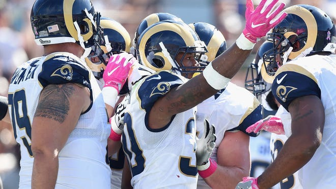 Rams running back Todd Gurley (30) has struggled after a superlative rookie season.