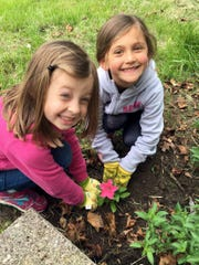 Jordan Rasmussen and Emily Scott work together to plant a petunia at a Penfield Road house.