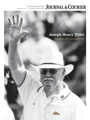 The Oct. 1 Journal & Courier front page, featuring a tribute to late Purdue football coach Joe Tiller.