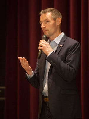 Republican U.S. Senate candidate Mike Kennedy speaks to SunRiver residents in St. George on Wednesday, June 6, 2018.
