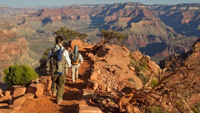 Sylvia Kadlubowski and Keanu Dirks descend along South Kaibab Trail at Grand Canyon National Park April, 24, 2013 in Arizona.