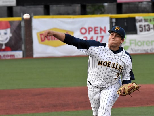 Moeller pitcher Mo Schaffer opens up the game on the
