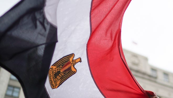 An Egypt flag in Moscow during the World Cup.