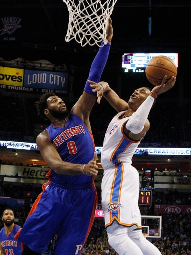 Oklahoma City Thunder guard Russell Westbrook, right,