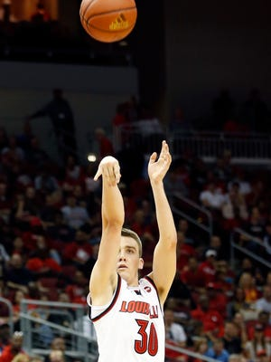 Louisville's Ryan McMahon knocks down one of his four 3-pointers in the first half of the Cards' Red-White Scrimmage.  Oct. 12, 2016