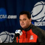 Arizona Wildcats head coach Sean Miller speaks to the media during practice before the semifinal of the NCAA west regional at Staples Center in Los Angeles on March 25.