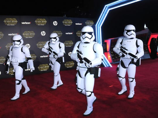 Stormtroopers arrive at the world premiere of 'Star