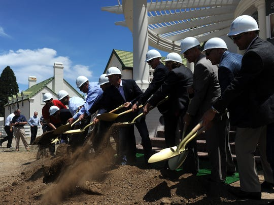 Local dignitaries, developers and people gather during the groundbreaking ceremony for the Rancharrah development in Reno on June 2, 2016.
