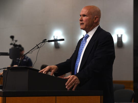 City Attorney Karl Hall speaks during a special Reno City Council meeting with regards to the sexual harassment allegations directed at City Manager Andrew Clinger on Aug. 4, 2016.