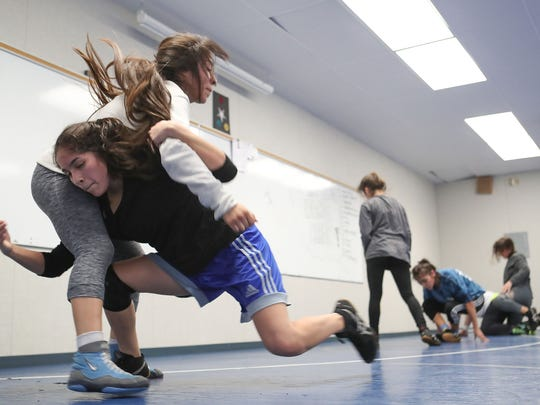 Cathedral City HIgh SchoolÕs girls wrestling practice, January 30, 2018.
