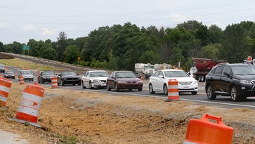Traffic amid road construction backs up in the southbound lanes of U.S. 31 at 136th Street in Carmel on June 20, 2014.