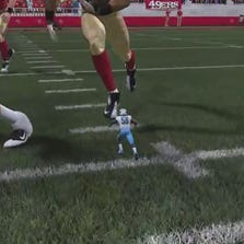 """Poor Christian Kirksey. The former Iowa linebacker has been downsized by about 5 feet from his 6-foot-2 frame in the """"Madden NFL 15"""" video game."""