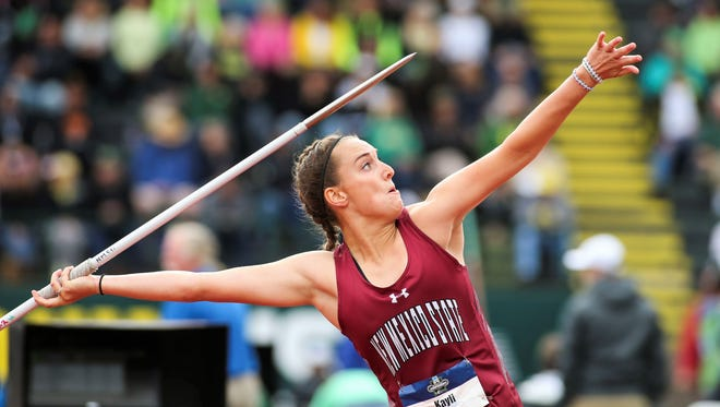 Aztec High School alum Kayli Farmer competes in the javelin on day two of the 2017 NCAA Track and Field Championships on June 8 in Eugene, Ore.