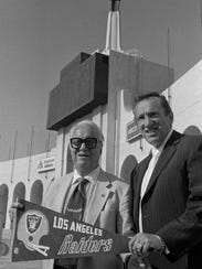 Former Raiders owner Al Davis, right, helped bring