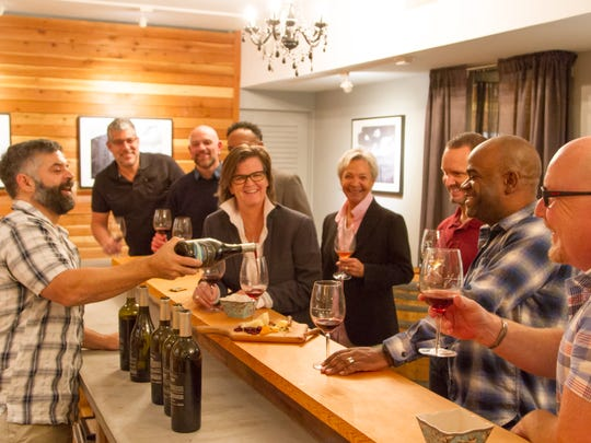 Illustration of a wine tasting at Jalama Wines in downtown Palm Springs.