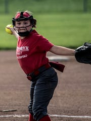 Licking Valley's Corsi-Swick Asphalt's Zoey Shaw pitches