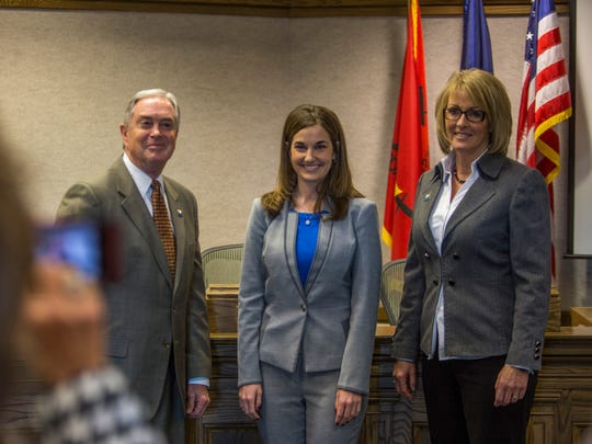The new members of the Cedar City Council pose for a photo with the mayor following a swearing-in ceremony for the council members, Monday, Jan. 4, 2015. Left to right: Craig Isom, Maile Wilson, Terri Hartley.