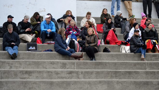 Fans watch Rye and Pleasantville in a boys lacrosse game at Nugent Stadium on March 30, 2017.