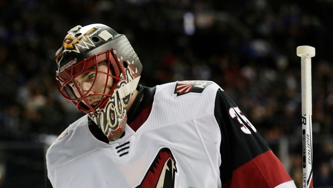 Arizona Coyotes goalie Louis Domingue (35) reacts during the second period of an NHL hockey game against the New York Islanders Tuesday, Oct. 24, 2017, in New York. (AP Photo/Frank Franklin II)