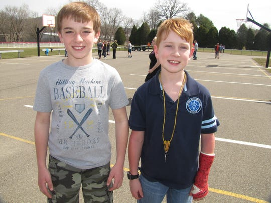 Niko DeSisti, left, and Candon Westervelt, both sixth-graders at Waverly Middle School, have been friends since second grade.