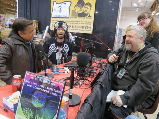 """""""Salem Geek Speak"""" hosts Zombie Grimm and Svengali interview Deep Roy, an Oompa Loompa in """"Charlie and the Chocolate Factory,"""" for their podcast."""